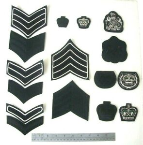 THE RIFLES REGIMENT RANK BADGES  BRITISH ARMY UK  LCPL CPL SJT CSJT WO2 WO1