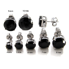 925 Sterling Silver Round Black Simulated Diamond Single Stud Mens Earring