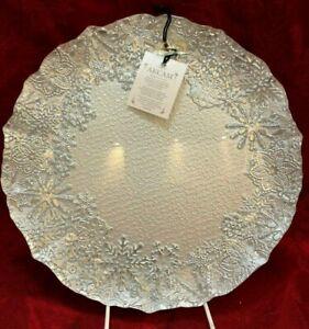 3 PCS SET Dinner Plate Snowflake Silver Pearl Snow White Glitter New 10.5 Akcam