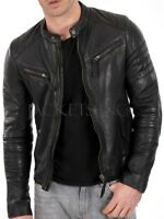 New Men's Genuine Lambskin Leather Jacket Black Slim fit Biker jacket B54