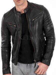 New Men's Genuine Lambskin Leather Jacket Black Slim fit Biker jacket B54