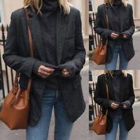 UK Women Lapel Wool Blend Long Sleeve Coat Jacket Tops Overcoat Blazer Suit Plus