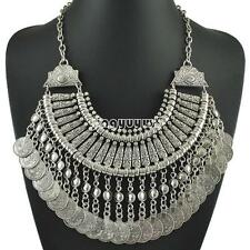 Vintage Boho Jewelry Ethnic Tribal Turkish Silver Coin Statement Necklace Gifts