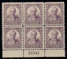 US #725 3¢ Webster, Plate No. Block of 6, og, NH,