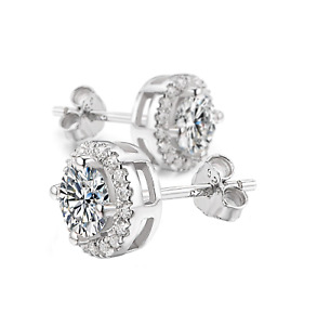 2Ct Signity Diamond Round Halo Stud Earrings Crafted In Sterling Silver