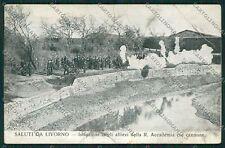 Livorno Città Marina Militare Militari PIEGA cartolina QQ3560