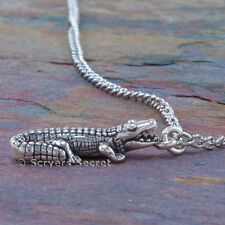 925 sterling silver ALLIGATOR Gator Crocodile 3D Charm Pendant Necklace