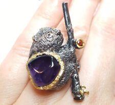 Panda teddy bear amethyst 7ct nugget garnet sapphire ring size 7.5  925 silver