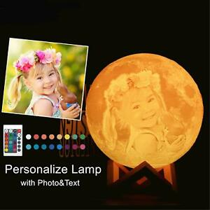 3D Moon Lamp Personalized Night Light - Remote Switch Rechargeable Bedside Table