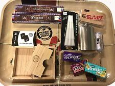 RAW WOODEN BOX + RAW XL TRAY GIFT SET PAPERS/FLASK/ROLLING MACHINE/INCENSE SET 1