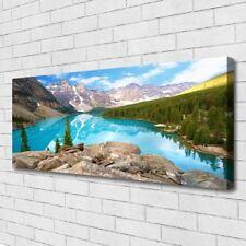 Leinwand-Bilder Wandbild Canvas Kunstdruck 125x50 Gebirge See Wald Natur