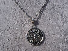 Tibetan Silver Tree, Moon & Sun Charm Pendant Silver Chain Necklace.Handmade