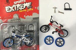 2pcs Finger Bike BMX Mountain Bicycle Diecast Model Kids Toy w/ 2x Spare Tires