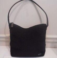 The Sak,Elliot Lucca, Black Crochet w/,Genuine Leather Trim Hobo Shoulder Bag