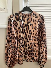 Zara Animal Print Balloon Sleeve Top Size Large