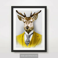 STAG DEER QUIRKY ANIMAL PORTRAIT Art Print Poster Bizarre Odd Curiosity Vintage
