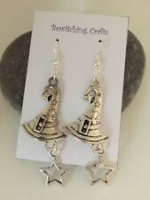 Large Witches Hat Earrings Witch Halloween Gift Party Pagan Gothic Star Crazy