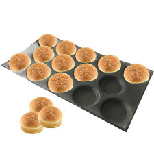 Silicone Hamburger Forms peforated bakery tray for bun bread 14 Caves 5 inch