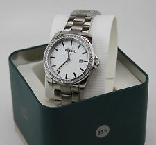 NEW AUTHENTIC FOSSIL SILVER CRYSTALS GLYTZ WOMEN'S BQ3188 WATCH