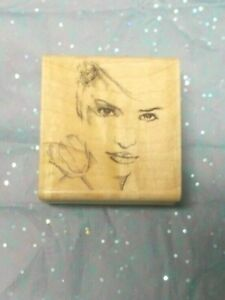 Stampabilities That Look woman's face flower wood mounted people lady eyes faces