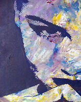 """art painting  print pop abstract woman large  face 28""""x 20"""" Australia"""