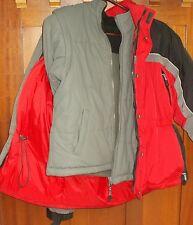 DOWN Parka 3-In-1 Reversible Jacket Vest 10-12 MED Boys Coat Red Gray Blk WC18