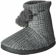 ISOTONER Women�s Shaker Knit Myrna Boot Slippers, Charcoal Heather, Large/8-9 M
