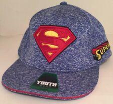 New Youth Size OSFM Boy's Blue Superman Hat One Size Adjustable SnapBack
