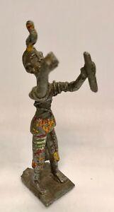 Antik Statuette Afrikanisch Polychrom - Gusseisen Wachs