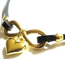 NEW Black Leather Yellow Gold Plated Infinity Heart & Bow Statement Necklace Luv