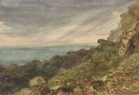 E. Venis, Coastal Rocks under Dark Skies, Hastings – 19th-century watercolour