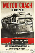 Motor Coach Transport Bus Ad Poster New England 1940s  11  x 14  Giclee print