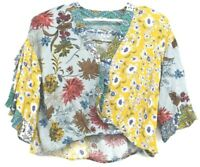 Umgee USA Women's Medium Multicolor Pattern Abstract Ruffle Open Sleeve Blouse