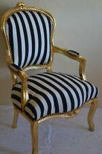 Fauteuil de style Louis XV noir et blanc bois doré