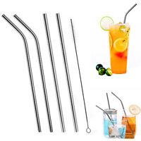 Stainless Steel Metal Drinking Straw Reusable Straws /1 Cleaner Brush Kit Choose