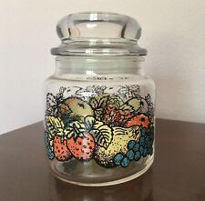 Anchor Hocking Vintage Jar With Lid Fruit Motif USA Candy Jar Storage Canister