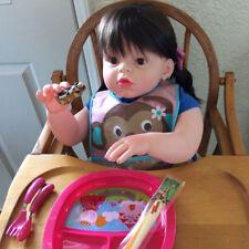 "Reborn Toddler Silicone Girl Blonde Hair 28"" Children Wear Model Doll Xmas gifts"
