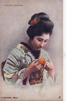 B81610 une belle japonaise with flower  geisha types   japan front/back image
