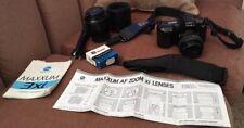 Minolta Maxxum 3xi AF 35-80 & 80-200 Lens & Accessories Lot Untested