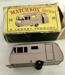 Matchbox Lesney #23 Caravan Trailer Black wheel version MIB