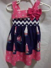 Nautical Pink Sailboat Girls Toddler Beach Dress SZ  2T by Sweet Heart Rose