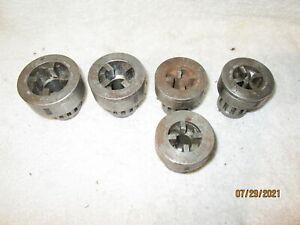 5PC LOT VINTAGE TOLEDO PIPE THREADER MACHINE DIES 1/4, 3/8(2), 1/2 & 3/4.
