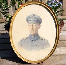Fritz Schön Soldat Portrait Thomsen Aquarell handgemalt Bild oval hohe Qualität