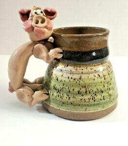 Studio Art Potters Field Oak Creek Wisconsin Stoneware Mug With Pig Handle Cup