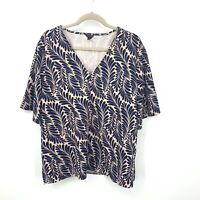 Ann Taylor Women XL Blouse Top Pink Blue Leaf Printed Wide Short Sleeve Stretch