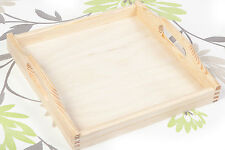 SQUARE NEW UNPAINTED WOODEN SERVING TRAY 5 x 24 x 24 cm / ART CRAFT DECOUPAGE