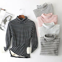 Winter Womens Striped shirt fur fleece Lined Thicken Turtle neck Tops Sweatshirt