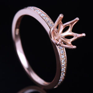 Round 6.5mm Solid 10K Rose Gold Semi-Mount Diamond Jewelry Engagement Fine Ring