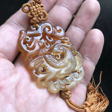 Fine Old Chinese Carved Carnelian Agate Stone Phoenix Bird Pendant Silk Necklace