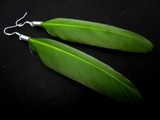 A PAIR LONG GREEN FEATHER  DANGLY EARRINGS WITH SOLID SILVER 925 HOOKS.